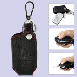 Wholesale Toyota Smart Remote Key Cover - Black Soft Leather Smart Remote Key Chain Holder Case Cover Fob With 3 Buttons for TOYOTA Camry Highlander Land Cruiser