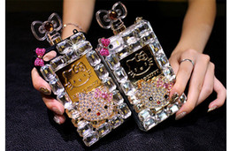 Wholesale Diamond Bling Iphone4 Case - Luxury Diamond Bling Perfume Bottle I Phone Case Love Cat Cell Phone Case for Iphone6 Plus(5.5), IPhone6S(4.7), Iphone5, Iphone4