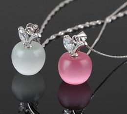 Opal diamant halskette anhänger online-2016 925 Sterling Silber Überzogene Schlüsselbein Halskette Charme Kleine Apfel Opal Anhänger HEIßER Edelstein Schmuck Katzenauge Schweizer Diamant Halsketten