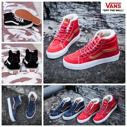 Wholesale Skateboard Sneaker Shoes Men - 2017 VANS Winter Boots Shoes With Velvet Sk8 Hi Casual Red High Top Canvas Classic Black Blue Women Men Skateboard Sneakers