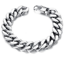 Wholesale Mens Silver Curb Bracelet - 10 12 14mm Curb Cuban Stainless Steel Bracelet Mens Chain Clasp Link Bracelets Silver Tone Jewelry Gift Promotion 10PCS LOT Mixe