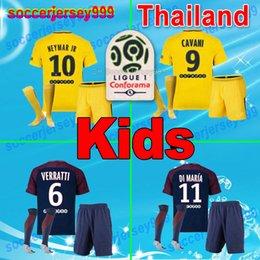 Wholesale Soccer Uniforms Psg - 2018 PSG soccer jerseys 2017 18 paris kids kits sets uniforms home away 3rd Neymar jr GERMAIN Silva SAINT Ben Cavani Draxler Football shirts
