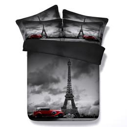 Wholesale Eiffel Tower Quilt Cover - Eiffel tower comforter set Paris 3D bedding sets bed sheets duvet cover bedspread quilt Queen size super king twin single double 5PCS bedshe