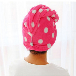 Wholesale Hair Drying Turban Towels - Wholesale- Lady Women Girls Hair Wrap Head Towel Quick Dry Bath Turbie Turban Twist Drying Cap Loop Button Hat Makeup Cosmetic Bathing Tool
