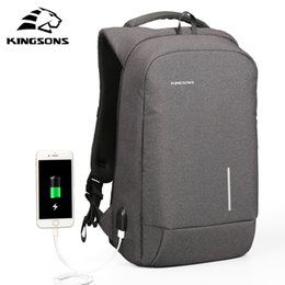Wholesale Backpack For Water Bag - kingsons New Arrivals Men Backpack For 13 15.6inches Laptop Backpack Large Capacity Casual Style Bag Water Repellent Backpack