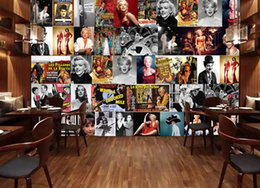 Wholesale Audrey Hepburn Fabric - Vintage photo wallpaper Custom 3D Wallpaper Marilyn Monroe Wall Mural Bedroom Hotel TV Backdrop Audrey Hepburn Wallpaper Room decor Poster