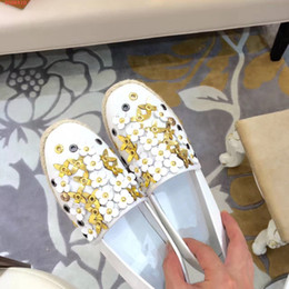 Wholesale Thick Soled Wedding Shoes - 2017 hot sale new fashion rivet flower lazy shoes joker comfortable thick sole casual Espadrilles single shoes