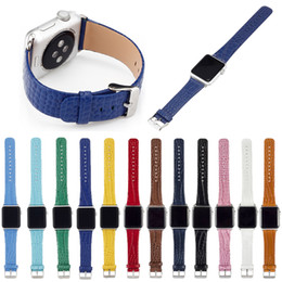 Wholesale Band Skins - For Apple Watch Strap 1 2 3 Generation 12 Color Genuine Leather Crocodile Skin Strap Breathable Band Strap Bracelet For Tracker Smart Watch