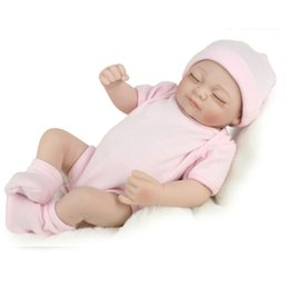 Wholesale Newborn Close - Christmas Presents 28 cm Silicone Reborn Baby Dolly Kids Playmate Gift For Girls Reborn Toys Simulation Closed Eyes Doll