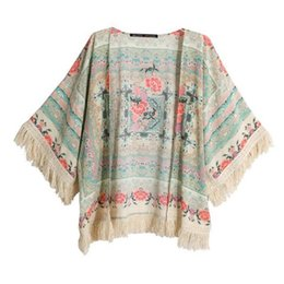 Wholesale Bat Wings Women Tops - Wholesale- Women Floral Print Cloth Tassels Shawls Coat Short Bat wing Cardigan Tops Blouse