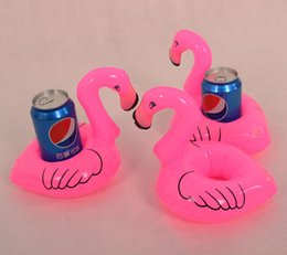 Wholesale Lovely Pink Cushions - Flamingo Inflatable Drink cushion Holder Lovely Pink Floating Bath Kids Toys Christmas Gift For Kids 12pcs Lot Sand Play water toys B001