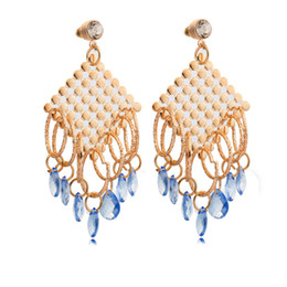Wholesale Gold Blue Gem Earring - Oversize 18K Yellow Gold Plated Loops Blue Gem Stone Charms Tassels Stud Earrings for Women Party Gift