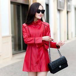 Wholesale Long Fur Coat Model - Coat Korean long models female leather Slim Jacket women Windbreaker