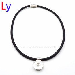 Wholesale Leather Yarn - Noosa Chunks Necklace Pendant Snap Button Rubber shaft(Silk yarn winding) Black Necklace 18mm Snap Button Pendant Necklace Collier YD0149