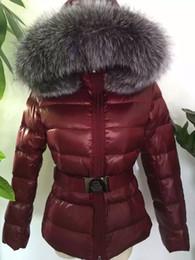 Wholesale Blue Fox Fur Xl - 2016 winter down coat silver blue fox fur collar jacket female models well-known brands