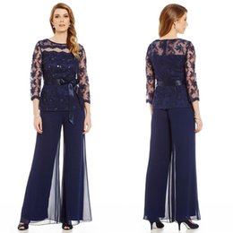 Wholesale Multicolor Ribbon - 2016 Two Pieces Mother Of The Bride Pants Suit For Weddings Long Sleeve Lace Applique Beads Navy Blue Mothers Pantsuits For Groom Ourwear