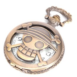 Wholesale Skull Watch Necklace - Fast Shipping One Piece Skull Pirate Quartz Pocket Watch Retro Men Women Necklace Chain Pendant Gift 230148