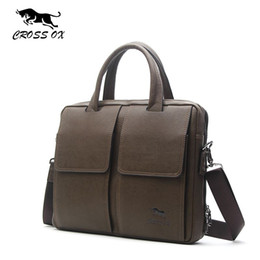Wholesale Ox Bag - New Hot 2016 CROSS OX Casual High Quality PU Leather Men Bag Solid Briefcase Messenger Bags Business Fashion Brand Bag HB534M