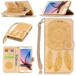 Wholesale Iphone Gel Flip - For Iphone7 S7 edge S6 Plus S5 For iphone 6s Beautiful Wallet Leather Case PU Flip Soft Gel Cover Embossed Campanula Flower SCA173