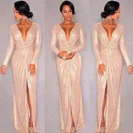 Wholesale Gold Sequin Dress Full Length - 2016 New Sequin Long Sleeve Evening Dresses Rose Gold Deep V-neck Slit Prom Dresses Sparky Sexy full length special occasion gown Hot Sale