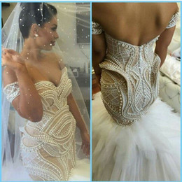 Wholesale Training Corset Cheap - Newest Sexy Mermaid Trumpet Ivory Off Shoulder Pearls Tulle Cheap Corset Wedding Dresses Bridal Gowns 2017