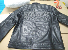 Wholesale Polyester Leather Jacket - qltrade_5 Affliction leather jackets Indian head Embroidery 100% genuine leather motorcycle leather jackets
