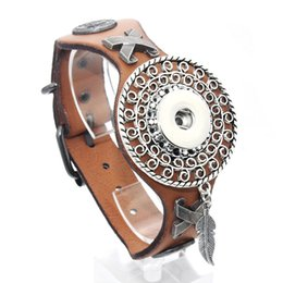 Wholesale Copper Bracelet Watch - 25cm Adjustable Snap Bracelet Vintage Metal Leather Bracelet Fit 18mm Snap Button Bracelet For Men Jewelry Watch Belt 9420