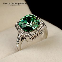 Wholesale Austrian Crystals Rings - White Gold Color Royal Design Austrian Crystal Square Green Woman Finger Ring Wholesale