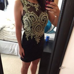 Wholesale Red Fitted Short Homecoming Dresses - 2016 Sexy Black and Gold Prom Dress Short Mini Fitted Cocktail Homecoming Dresses Sweetheart Sheer Crew Neck Sleeveless Beaded Appliques