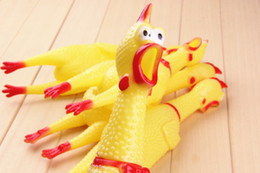 Wholesale Rubber Chicken Small - Small Size Yellow mini Screaming Rubber Chicken Pet Dog toy love Toy Squeak Squeaker Chew Gift 17CM