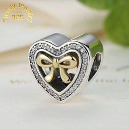 Wholesale Wholesale Jewelry Pink Bow - Wholesale 14K Gold Plated Bound By Love Bow Heart Charms Beads S925 Sterling Silver Clear CZ Bowknot Beads For Women Bracelets DIY Jewelry