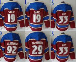 Wholesale Paul Hoodies - Colorado Avalanche #9 Paul Kariya #19 joe sakic #29 nathan mackinnon Cheap Hockey Hooded Stitched Old Time Hoodies Sweatshirt Jerseys