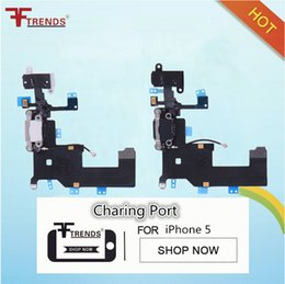Wholesale Headphones For Iphone 5g - Original Dock Connector USB Charging Port and Headphone Audio Jack Flex Cable Ribbon for iPhone 5 5G Black or White