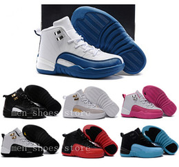 Wholesale Shoes Girls Blue Color - Kids 12s Shoes Children Basketball Shoes Boys Girls 12s French Blue The Master 12s Taxi Sports Shoes Toddlers Birthday Gift