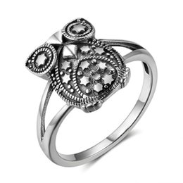 Wholesale Vintage Animal Rings Sterling - Size 6 7 8 New 925 Sterling Silver for Women Cute Owl Vintage Design with Star Decorations Fashion Silver Jewelry