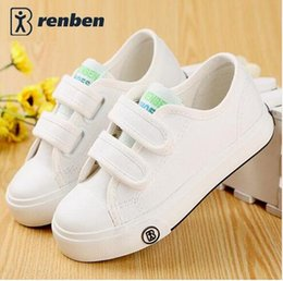 Wholesale Korean Fashion Shoes For Boys - 2016 new Korean children solid color canvas casual shoes boys girls white students shoes fashion sneakers for kids