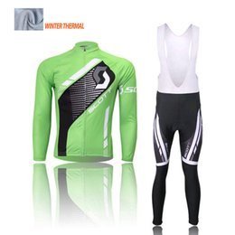cyclisme long jersey vert Promotion Cycle jersey 2016 Nouveau style hiver cyclisme maillot manches longues Pro cyclisme maillot / bavoir long pantalon hiver chaud vélo sportwear vert