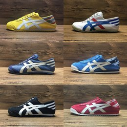 Wholesale Womens Pink Tennis Shoes - New Colors Asics Tiger Canvas Shoes Running Shoes Mens And Womens Comfortable Athletic Outdoor Sport Sneakers Eur 36-44 With Box