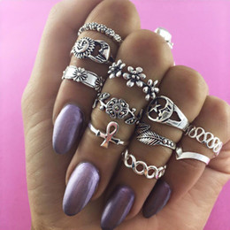Wholesale Moon Waves - 11pcs   set retro ring, sun, moon, flowers, wave, twist ring, knuckle ring, 2017 high quality fashion personality ring wholesale