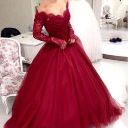 Wholesale Quincenera Dresses Blue - 2017 New Design Burgundy Ball Gown Prom Dresses Off The Shoulder Tulle Sweep Train Quincenera Dresses Evening Party Gowns