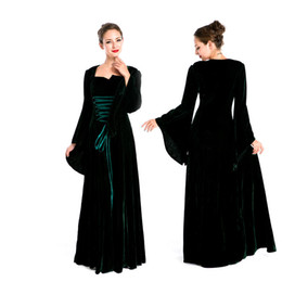 Wholesale Medieval Dresses Costumes - European Women Vintage Court Long Dress Cosplay Halloween Party Costume Ladies Stage Performance Game Uniform
