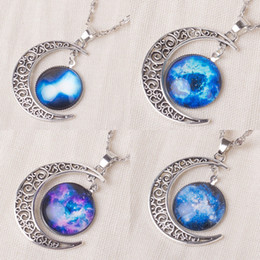 Wholesale Model Necklace - (In stock) 2017 New Vintage starry Moon Outer space Universe Gemstone Pendant Necklaces Mix Models