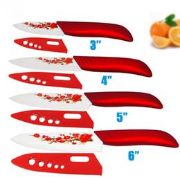 Cuchillos de cerámica de alta calidad y alta definición 3 4 5 6 Cuchillos de cocina con flor roja Dropshipping + Cubiertas desde fabricantes