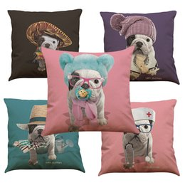 Wholesale French Weaving - French Bulldog Linen Cushion Cover Home Office Sofa Square Pillow Case Decorative Cushion Covers Pillowcases Without Insert(18*18Inch)