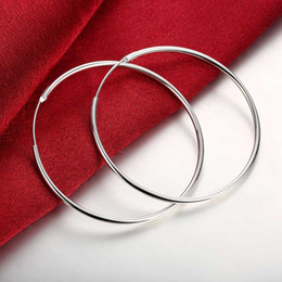 Wholesale 925 Circle Earrings - Classic Style Big Hoop Earrings 5cm Glossy Round Circle Silver Plated Earring 925 Silver Jewelry Simple Fashion Beautiful Gift