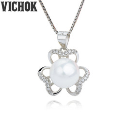 Wholesale Petal Flower Necklace - 925 Sterling Silver Pendant&Necklace Petal 10mm Pearl Pendant Necklace For Women Fine Jewelry Platinum 18K Gold Plated Colors VICHOK