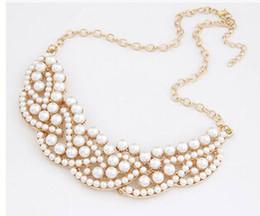 Wholesale Vintage Pearl Collar Necklace - Women New Elegant Vintage Imitation Pearl Hollowed Golden Choker Bib Collar Necklace
