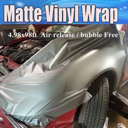 Vinil cinza on-line-Envoltório do vinil do cinza de Gunmetal Antracite do vinil com bolha de ar livre Cinza escuro Metallic Filme do filme de Matt que envolve o tamanho 1.52x30m / Roll 5x98ft
