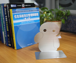 Wholesale Bookends Ship - Free shipping Q Edition baymax Book End Strle Edition Cartoon Creative Bookends lovely Children's perspective stainless steel Bookends