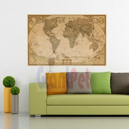 Wholesale Colors Television - world map150g coated paper black colors personalized travel world english version map